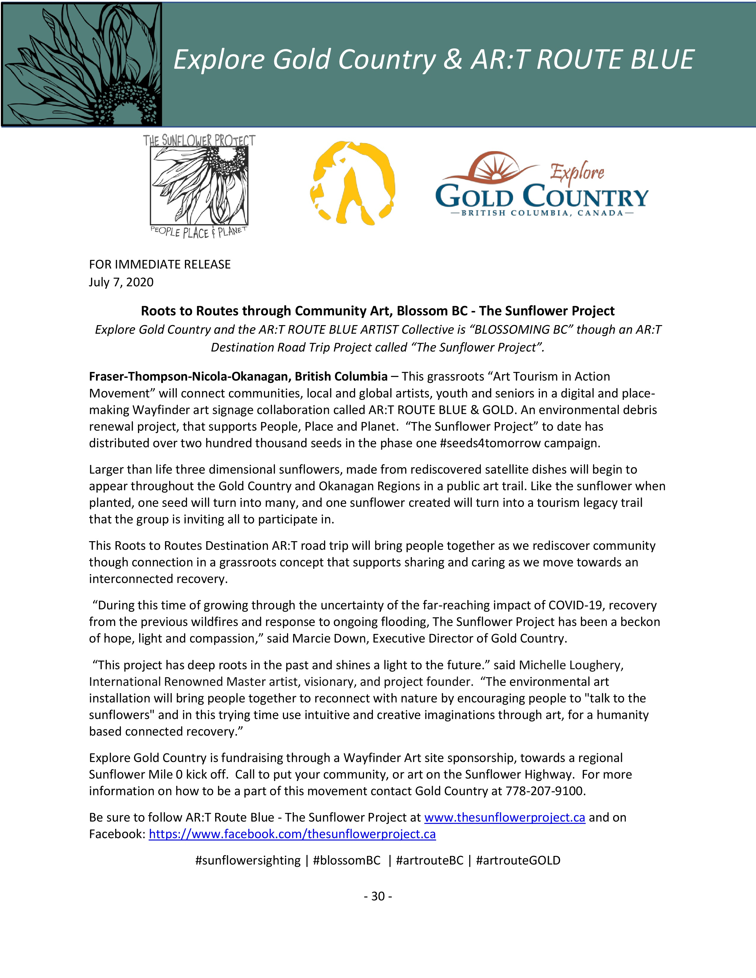 The Sunflower Project Press Release